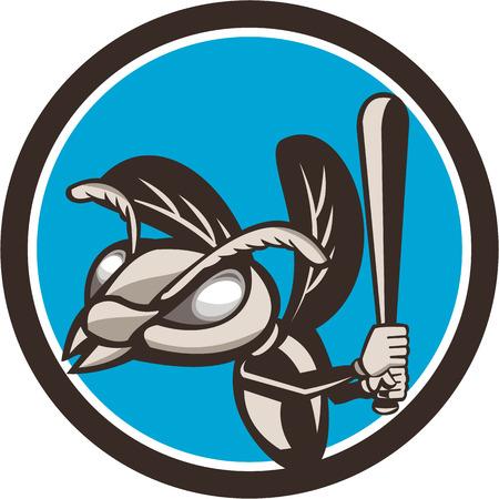 batting: Illustration of a hornet wasp vespa crabro baseball player batting set inside circle on isolated background done in retro style. Illustration