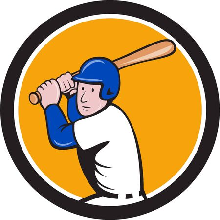 hitter: Illustration of an american baseball player ready to bat set inside circle on isolated background done in cartoon style. Illustration