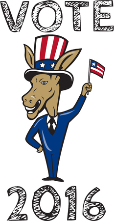 gop: Illustration of a democrat donkey mascot of the democratic grand old party gop smiling looking to the side with one hand on hip and the other waving american usa flag up wearing american stars and stripes hat and suit done in cartoon style set on isolated