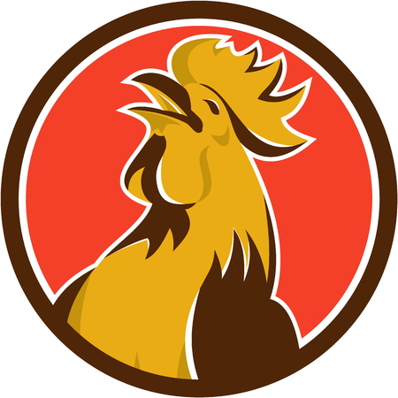 crowing: Illustration of a chicken rooster crowing viewed from the side set inside circle on isolated background done in retro style.