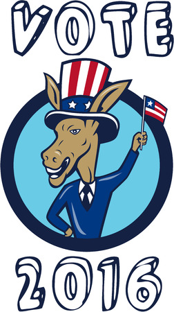 Illustration of a democrat donkey mascot of the democratic grand old party gop smiling looking to the side with one hand on hip and the other waving american usa flag up wearing american stars and stripes hat and suit done in cartoon style set inside circ Illustration