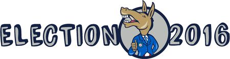 gop: Illustration of a democrat donkey mascot of the democratic grand old party gop looking to the side showing thumbs up with American stars and stripes flag suit done in cartoon style with words Election 2016 on the side.
