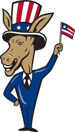 Illustration of a democrat donkey mascot of the democratic grand old party gop smiling looking to the side with one hand on hip and the other waving american usa flag wearing american stars and stripes hat and suit done in cartoon style set on isolated wh