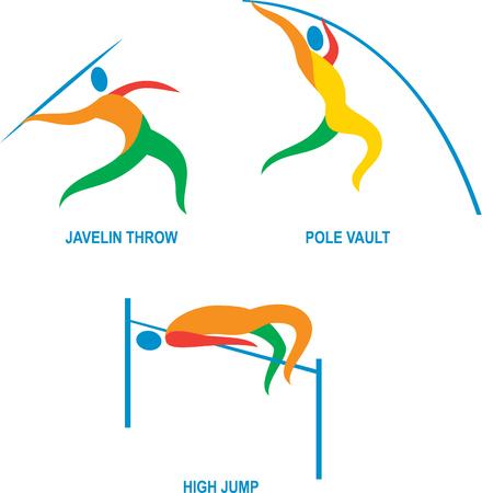 lanzamiento de jabalina: Ilustración Icono de atleta jugando el deporte de pista y campo, lanzamiento de jabalina, salto con pértiga, salto de altura. Vectores