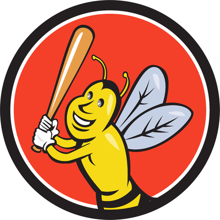 batting: Cartoon style illustration of a killer bee baseball player smiling holding bat batting viewed from the front set inside circle on isolated background. Illustration