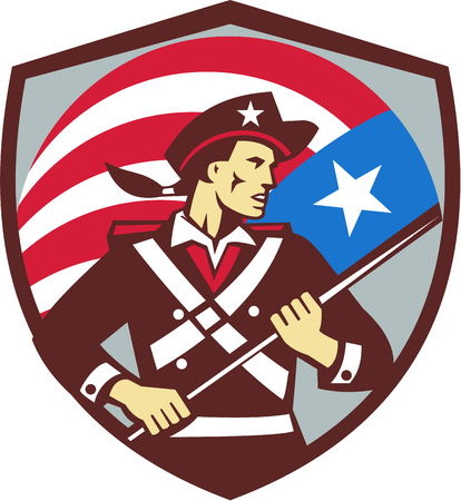 Illustration of an american patriot brandishing holding american usa flag looking to the side set inside shield crest done in retro style. Illustration