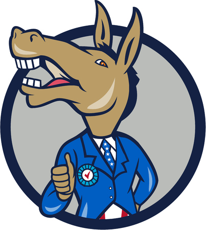 Illustration of a democrat donkey mascot of the democratic grand old party gop showing thumbs up looking to the side wearing american stars and stripes suit done in cartoon style set inside circle.