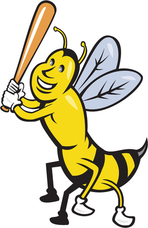 batting: Cartoon style illustration of a killer bee baseball player smiling holding bat batting viewed from the front set on isolated white background.