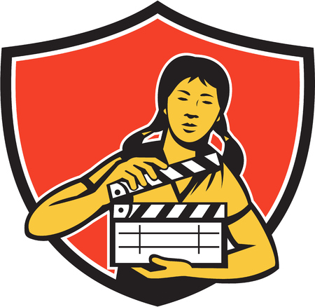 clapboard: Illustration of an asian woman movie clapper holding clapboard viewed from front set inside shield crest on isolated background done in retro style. Illustration