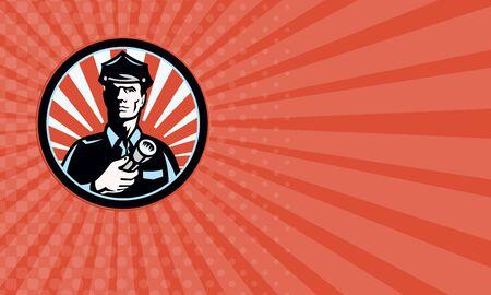 guardia de seguridad: Tarjeta de visita que muestra la ilustración de un guardia de seguridad del policía del oficial de policía con una antorcha linterna fijó el círculo interior hecho en estilo retro.
