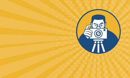dslr camera: Business card showing illustration of a photographer shooting dslr camera front view set inside circle done in retro style.