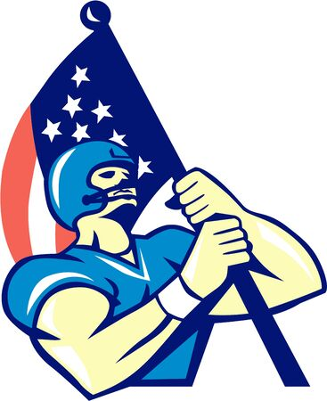 jugadores de futbol: Ilustración de un jugador de fútbol americano que sostiene EE.UU. bandera americana mirando hacia arriba, visto desde un ángulo bajo hecho en estilo retro.