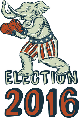republican party: Etching engraving handmade style illustration of an American Republican GOP elephant boxer mascot boxing with boxing gloves wearing USA stars and stripes flag shorts viewed from side with words Election 2016