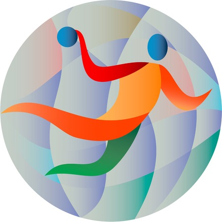 atma: Illustration of a handball player jumping throwing ball scoring set inside circle done in retro style.