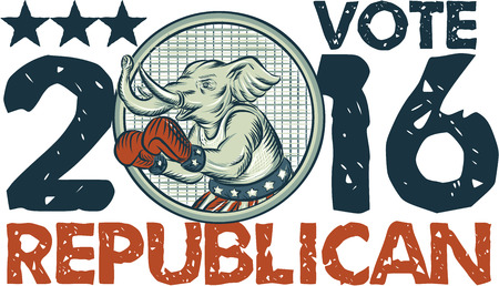 Etching engraving handmade style illustration of an American Republican GOP elephant boxer mascot boxing with boxing gloves wearing USA stars and stripes flag shorts viewed from side set inside circle with words Vote Republican 2016.