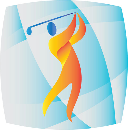 golfer swinging: Illustration of a golfer playing golf swinging club teeing off set inside square shape done in retro style.