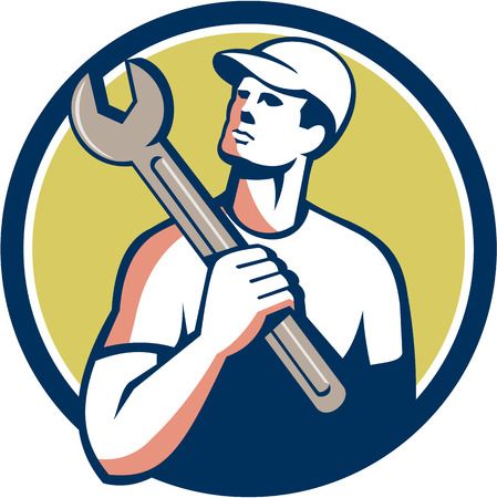 looking up: Illustration of a tradesman mechanic wearing hat holding spanner on shoulder looking up to the side set inside circle on isolated background done in retro style.