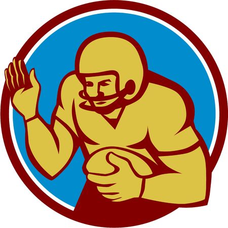 quarterback: Illustration of an american football gridiron quarterback qb player holding ball fending off defend set inside circle on isolated background done in retro style.