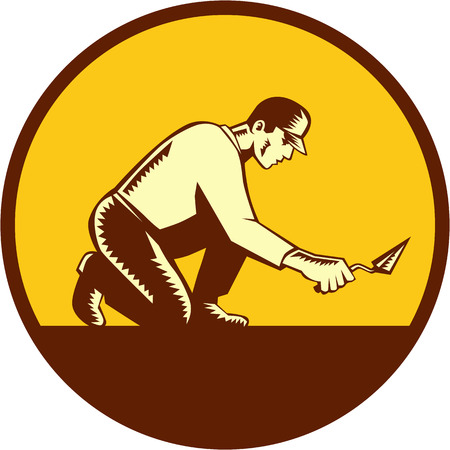 masonry: Illustration of a tiler plasterer mason masonry construction worker with trowel viewed from side set inside circle done in retro woodcut style.