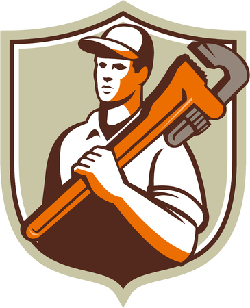worker man: Illustration of a plumber worker wearing hat holding monkey wrench on shoulder looking to the side viewed from front set inside shield crest on isolated background done in retro style.