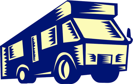 printmaking: Illustration of a camper van motor home viewed from front on low angle on isolated white background done in retro woodcut style.