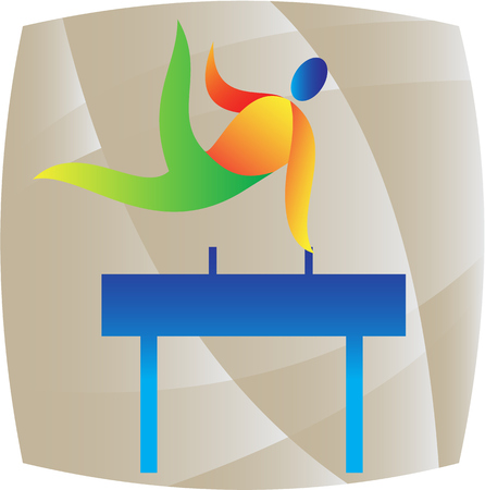 pommel: Illustration of an athlete on pommel horse playing the sport of gymnastics set inside square done in retro style.
