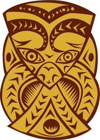 woodblock: Illustration of a traditional maori mask viewed from front set on isolated white background done in retro woodcut style.
