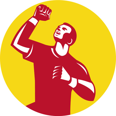 fist pump: Illustration of a male athlete doing a fist pump looking up viewed from low angle set inside circle done in retro style.