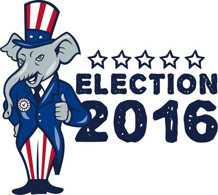 republican party: Illustration of a republican elephant mascot of the republican party standing wearing hat and suit thumbs set on isolated white background done in cartoon style with words Election 2016.