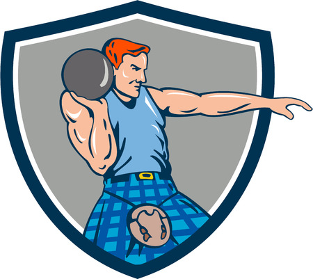 highland: Illustration of a scotsman athlete wearing playing kilt playing highland games stone put throw viewed from the side set inside shield crest done in retro style.