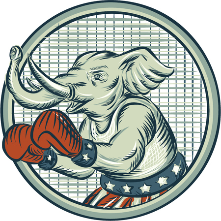 Etching engraving handmade style illustration of an American Republican GOP elephant boxer mascot boxing with boxing gloves wearing USA stars and stripes flag shorts viewed from side set inside circle.