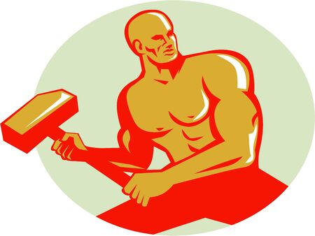 sledge: Illustration of an athlete holding sledgehammer in training looking to the side viewed from front set inside oval shape done in retro style.