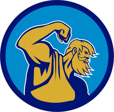 mythology: Illustration of Roman god of sea Neptune or Poseidon of Greek mythology flexing muscles viewed from the side set inside circle on isolated background done in retro style.