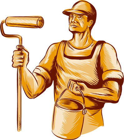 Acquaforte stile illustrazione a mano incisione di un pittore di casa tenendo il rullo di vernice e secchio di vernice può guardare al lato visto dal fronte impostato su sfondo bianco isolato.