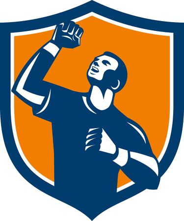 fist pump: Illustration of a male athlete doing a fist pump looking up viewed from low angle set inside shield crest on isolated background done in retro style.