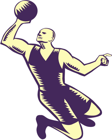 Illustration of a basketball player dunking ball viewed from front set on isolated white background done in retro woodcut style.