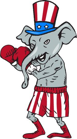Illustration of an American Republican GOP elephant boxer mascot boxing in fighting stance pose with boxing gloves wearing USA stars and stripes flag hat and shorts set on isolated white background done in cartoon style.