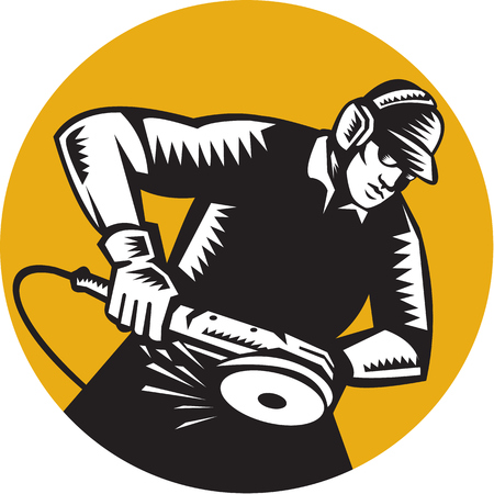 ear muffs: Illustration of a worker wearing hat and ear muffs holding angle grinder working viewed from side set inside circle done in retro woodcut style.