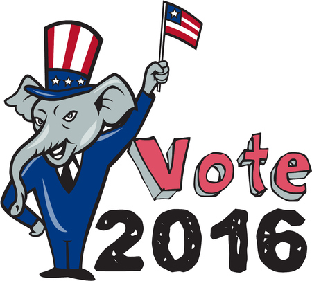 pachyderm: Illustration of a republican elephant mascot of the republican grand old party gop smiling looking to the side with one hand on hip and the other waving american usa flag wearing american stars and stripes hat and suit done in cartoon style set on isolate