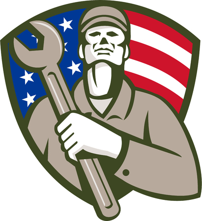 man looking up: Illustration of a mechanic worker wearing hat holding wrench on chest looking up set inside shield crest with american usa flag stars and stripes in the background done in retro style.