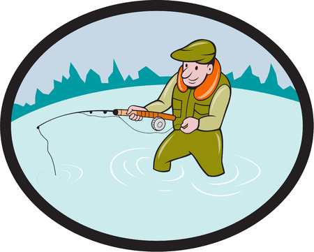 fly fishing: Illustration of a fly fisherman casting fly fishing rod viewed from the side set inside oval shape with mountains in the background done in cartoon style.