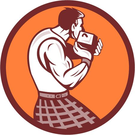 scot: Illustration of a scotsman wearing kilt holding weight throwing viewed from rear set inside circle on isolated background done in retro style.