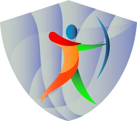 sportsperson: Retro illustration of a an archer with bow playing archery sports viewed from the side set inside shield crest done.