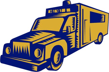 emergency response: Illustration of an ambulance emergency vehicle truck viewed from front on isolated white background done in retro woodcut style.