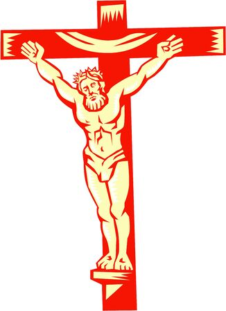 nailed: Illustration of Jesus Christ on cross viewed from front set on isolated white background done in retro woodcut style.