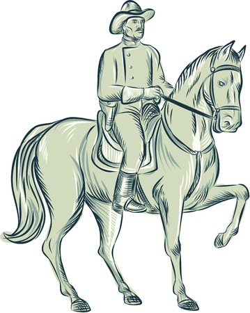 calvary: Etching engraving handmade style illustration of a calvary soldier riding horse viewed from front set on isolated white background.