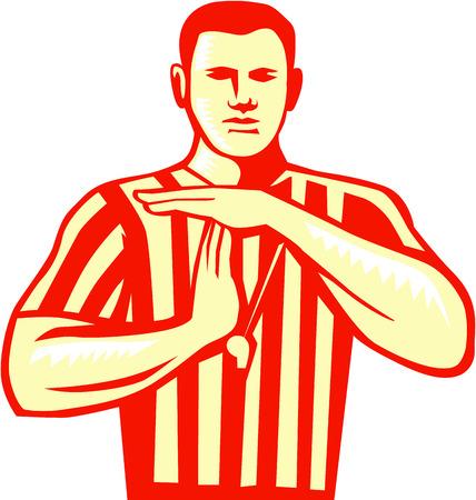 복고 스타일을 이루어 격리 된 흰색 배경에 앞 세트에서 볼 테크니컬 파울 손으로 신호를하고 농구 심판의 그림입니다. 일러스트