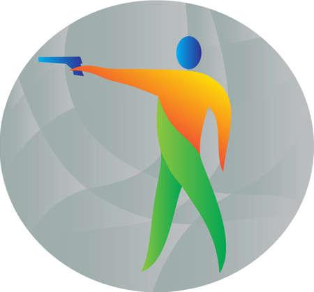 tiro al blanco: Ilustración de un atleta con el tiro con pistola de aire se ve desde el lado conjunto dentro del círculo hecho en estilo retro.