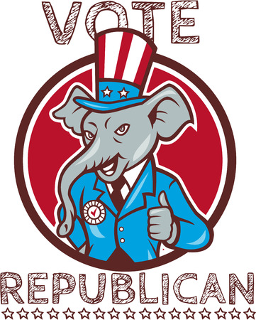 republican party: Illustration of a republican elephant mascot of the republican party wearing hat and suit thumbs set inside circle done in cartoon style with words Vote Republican