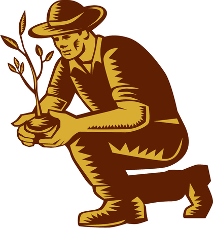 Illustration of an organic farmer wearing hat planting tree plant viewed from side on isolated white background done in retro woodcut style.